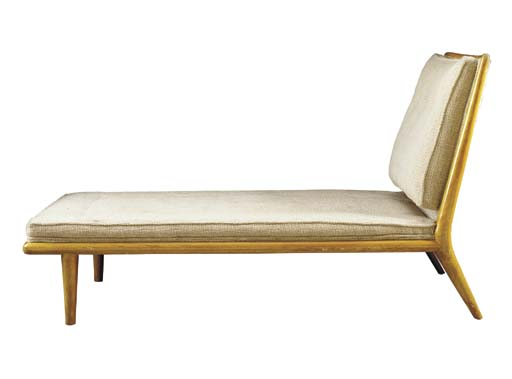 A WALNUT CHAISE LOUNGE