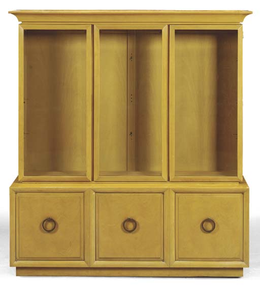 A FRUITWOOD VITRINE CABINET