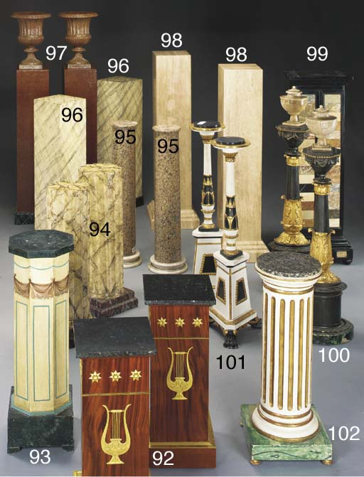 A PAIR OF FAUX MARBLE COLUMNAR