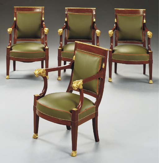 A SET OF FOUR EMPIRE MAHOGANY
