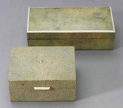 TWO SHAGREEN AND IVORY BOXES**