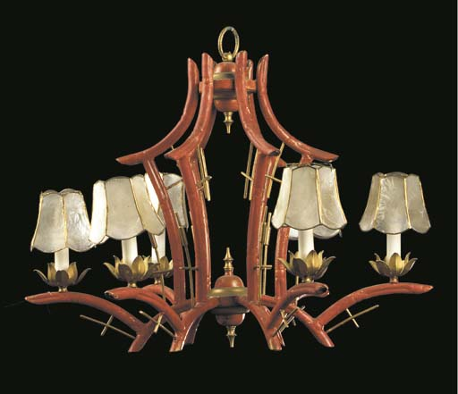 A CHINESE STYLE RED AND GILT D