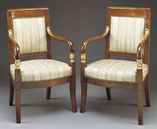 A PAIR OF EMPIRE STAINED FRUIT