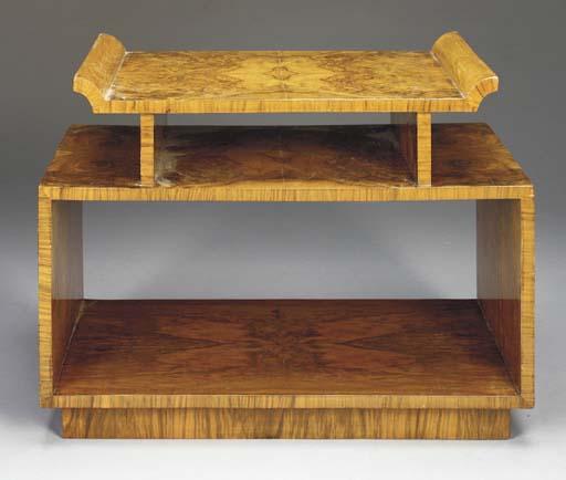 A CUSTOM AMBOYNA LOW TABLE