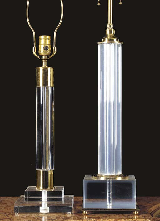 A PAIR OF ACRYLIC AND BRASS LA