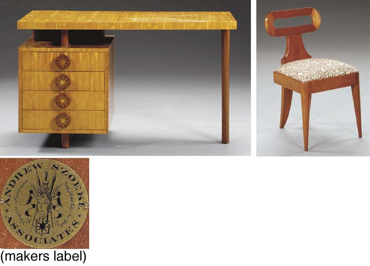 AN INLAID SATINWOOD AND OAK DE