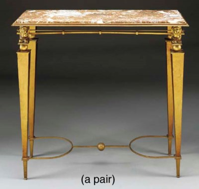 A PAIR OF GILT METAL SIDE TABL