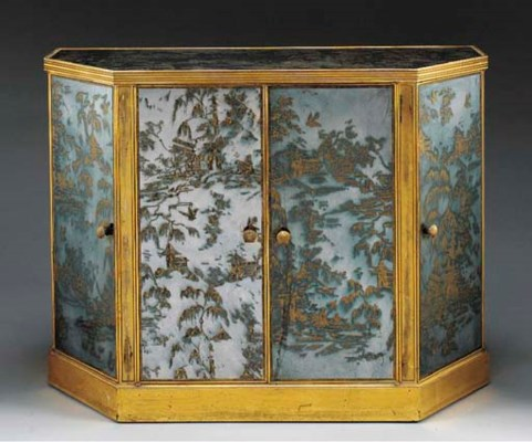 AN EGLOMISE SIDE CABINET IN TH