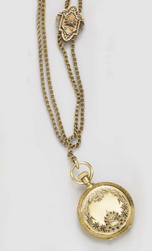 AN ANTIQUE POCKET WATCH AND CH