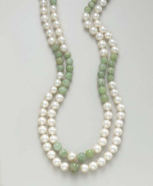 A PAIR OF CULTURED PEARL AND J