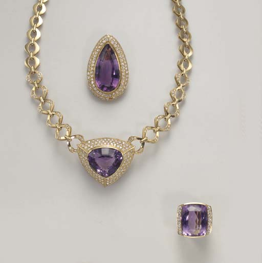 A GROUP OF AMETHYST AND DIAMON