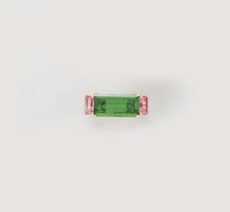 AN EMERALD, PINK SAPPHIRE AND