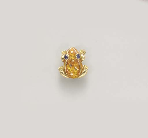 A GOLD, ENAMEL AND SAPPHIRE BR
