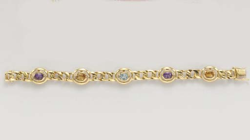 TWO GOLD AND MULTI-GEM BRACELE