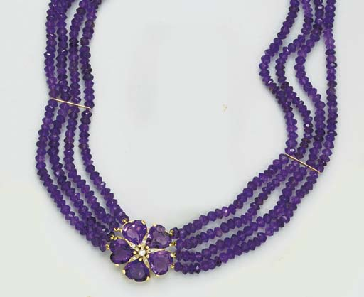 AN AMETHYST AND DIAMOND NECKLA