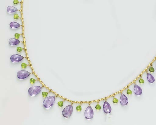 AN AMETHYST AND PERIDOT NECKLA