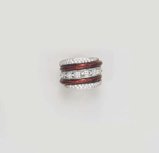 A DIAMOND AND ENAMEL RING, BY