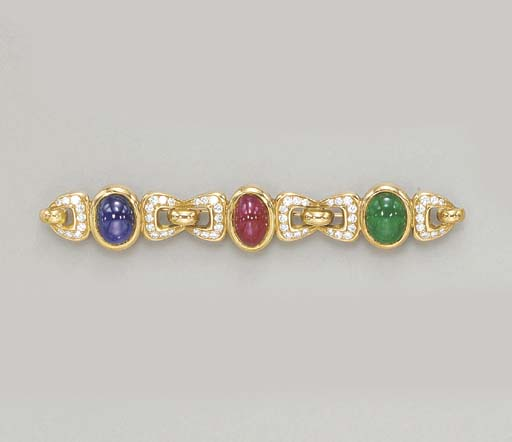 A SAPPHIRE, RUBY, EMERALD AND