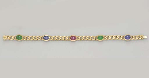 A MULTI-GEM AND GOLD BRACELET,