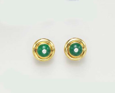 A PAIR OF MALACHITE, DIAMOND A
