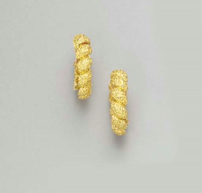 A PAIR OF GOLD EAR CLIPS