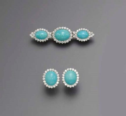 A SUITE OF DIAMOND AND TURQUOI
