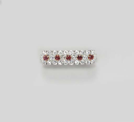 A DIAMOND AND RUBY BAR PIN