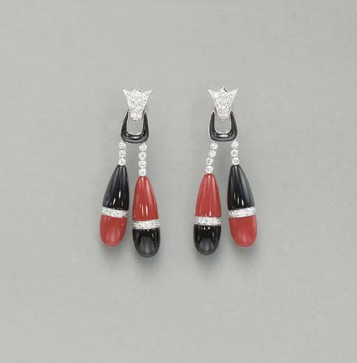 **A PAIR OF CORAL, ONYX AND DI