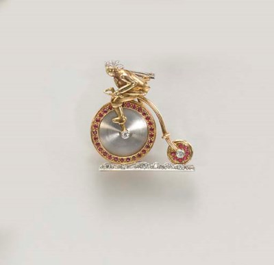 A RETRO RUBY AND DIAMOND LAPEL