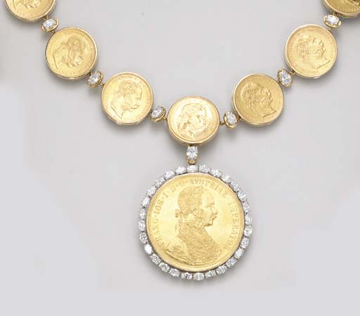 A DIAMOND AND COIN NECKLACE