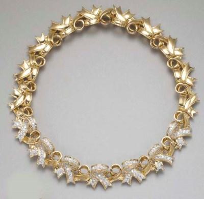 A GOLD AND DIAMOND RIBBON NECK