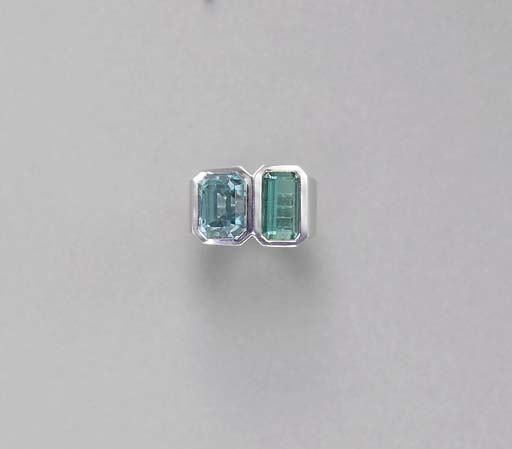 A TOPAZ AND TOURMALINE RING, B