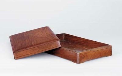 A HUANGHUALI INKSTONE BOX AND