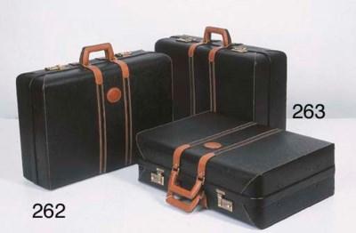 Valise rigide en cuir noir, gr