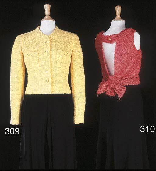 Veste courte en lainage jaune