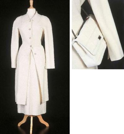 Manteau cintré, en lainage bla
