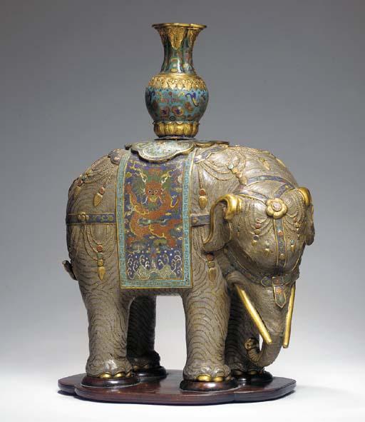 ELEPHANT CARAPACONNE EN BRONZE