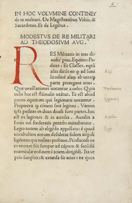 MODESTUS, (attribué à). De re
