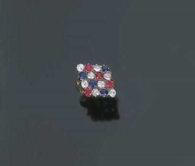 Anello con zaffiri, rubini e b