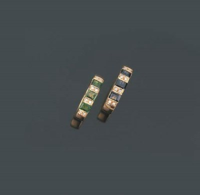 Coppia di anelli con zaffiri e