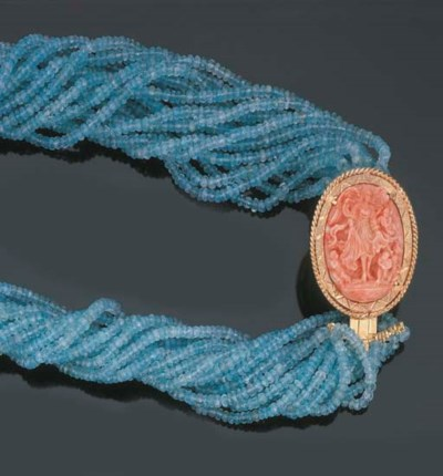 Collana in acquamarine e coral