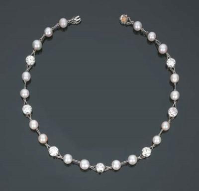 Collana in brillanti e perle c