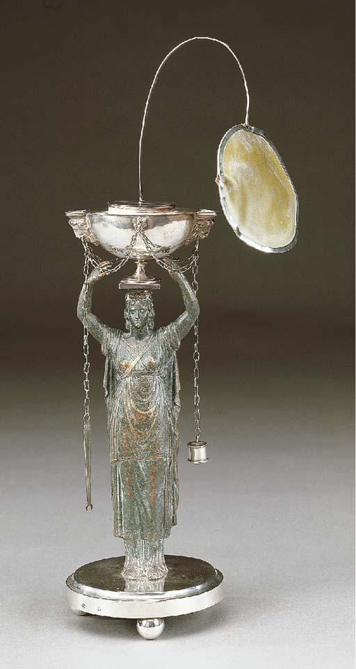 Lucerna in argento e bronzo, R