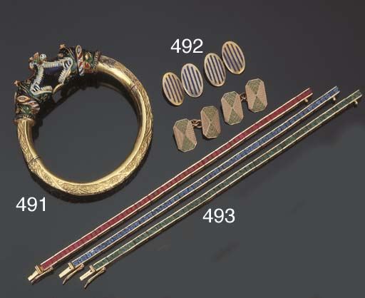 Tre bracciali in zaffiri, rubi