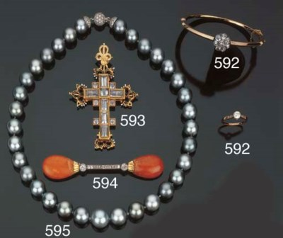 Croce in oro, smalto e cristal