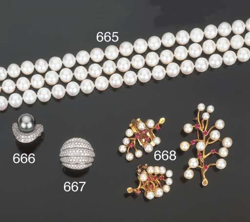 Demi parure in perle coltivate