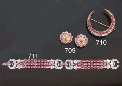 Bracciale in zaffiri rosa e br