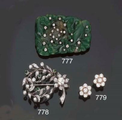 Spilla in brillanti e smeraldi