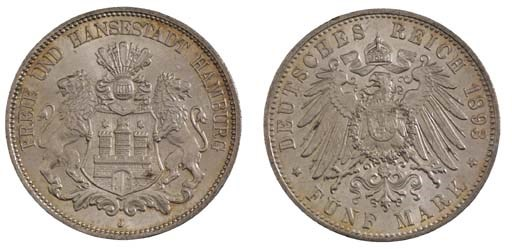 Hamburg, City, 5-Mark, 1893 J