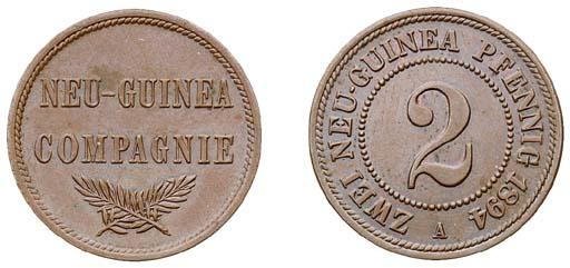 German New Guinea, copper 2-Pf